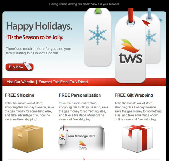 TWS holiday email with call to action